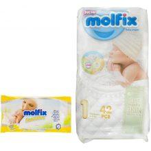 پوشک مولفیکس مدل 3D newborn سایز 1 بسته 42 عددی به همراه دستمال مرطوب